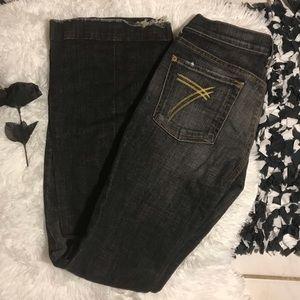 7FAM Dojo 27 Dark Wash Flare Jeans Gold 7 Pockets